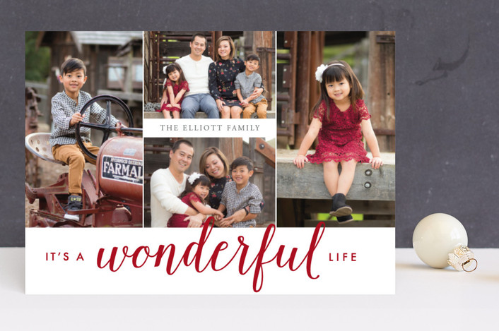"""""""Oh So Wonderful"""" - Holiday Photo Cards in Cherry by Emily Betts."""
