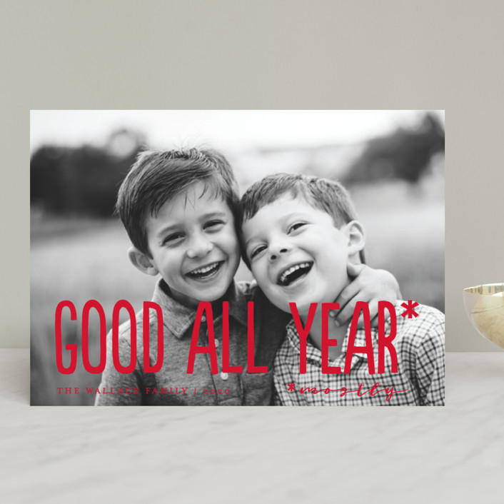 """""""Good All Year"""" - Funny Holiday Photo Cards in Holly Berry by Amy Payne."""