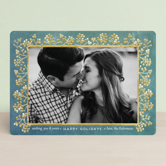 """winterberry filigree"" - Holiday Photo Cards in Peacock by shoshin studio."