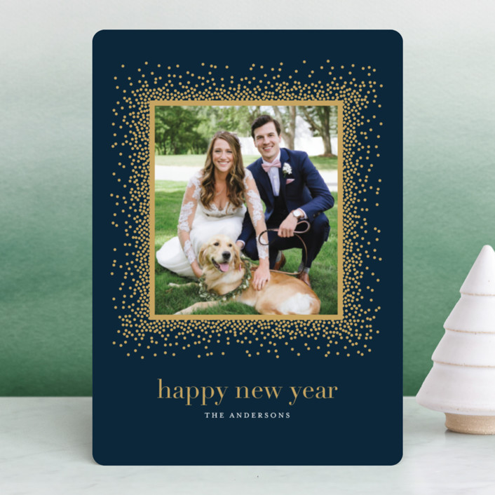 """Married & Bright"" - Holiday Photo Cards in Midnight Blue by Jennifer Postorino."