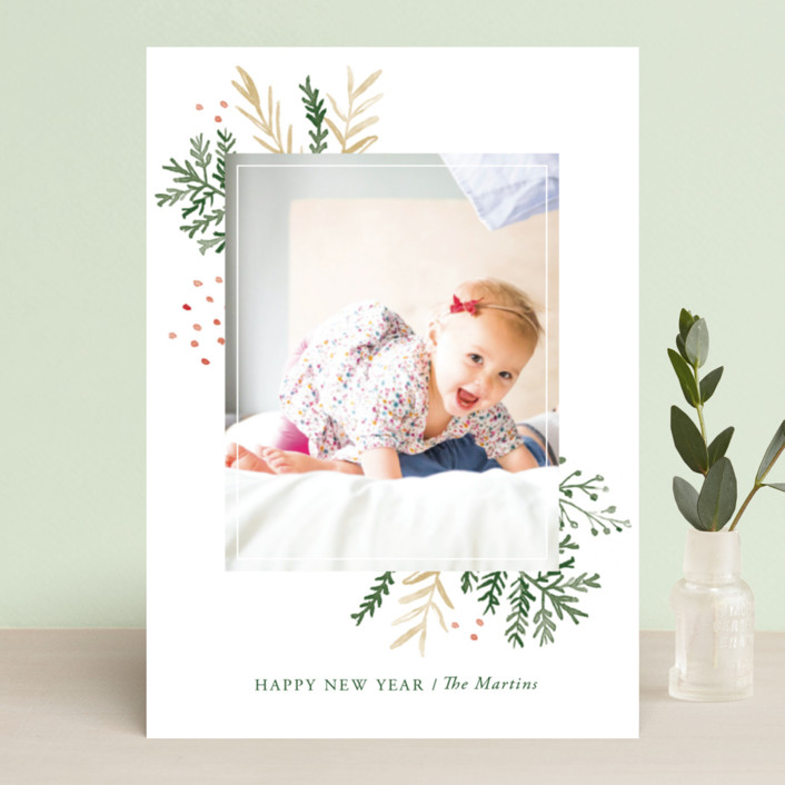 """Wintertide"" - Holiday Photo Cards in Evergreen by Oscar & Emma."