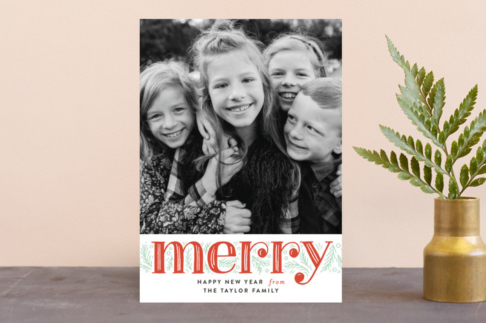 """Merry Pine Branches"" - Holiday Photo Cards in Holly Berry by Alethea and Ruth."