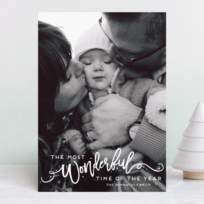 """The Most Wonderful"" - Holiday Photo Cards in Snowflake by GeekInk Design."