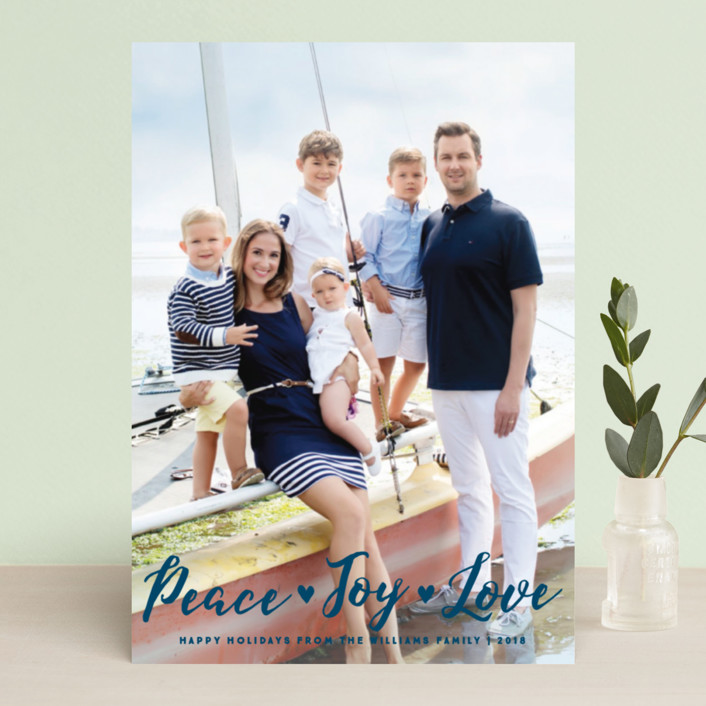 """Peace Joy Love"" - Holiday Photo Cards in Navy by Paper Dahlia."