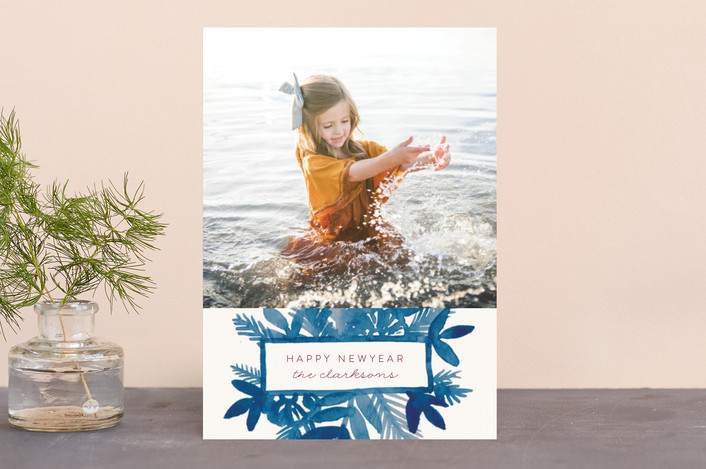 """""""Watercolor Spray"""" - Holiday Photo Cards in Sea by Katharine Watson."""