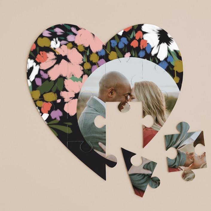 """spring dream"" - 12 Piece Custom Heart Puzzle in Onyx by Angela Marzuki."