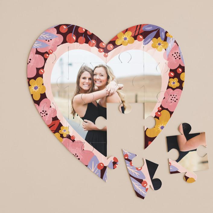 """blooming heart"" - 12 Piece Custom Heart Puzzle in Poppy by Anastasia Makarova."