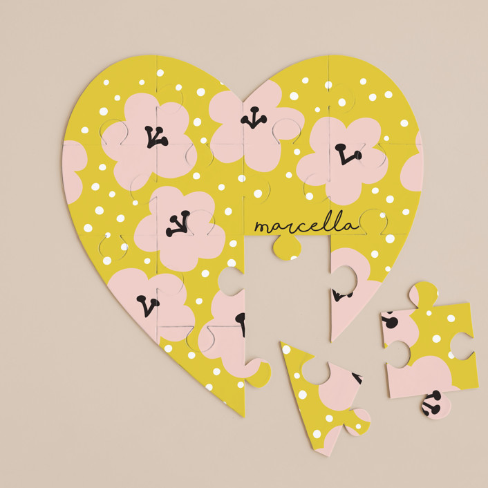"""Marcella"" - 12 Piece Custom Heart Puzzle in Mustard by Nieves Herranz."