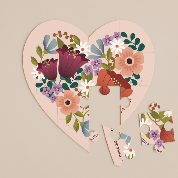 """""""Floral Heart"""" - 12 Piece Custom Heart Puzzle in Blush by Lauren Brown."""
