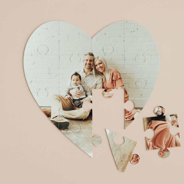"""The Big Picture"" - 12 Piece Custom Heart Puzzle in Cotton by Minted Custom."