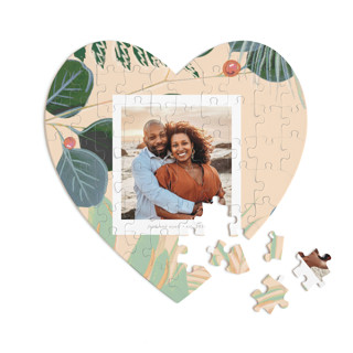 This is a beige heart puzzle by Baumbirdy called Bold Floral printing on signature in 60 piece.
