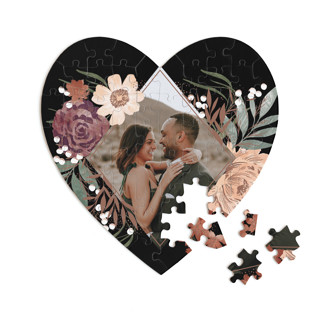 This is a black heart puzzle by Alethea and Ruth called Peony Crush printing on signature in 60 piece.