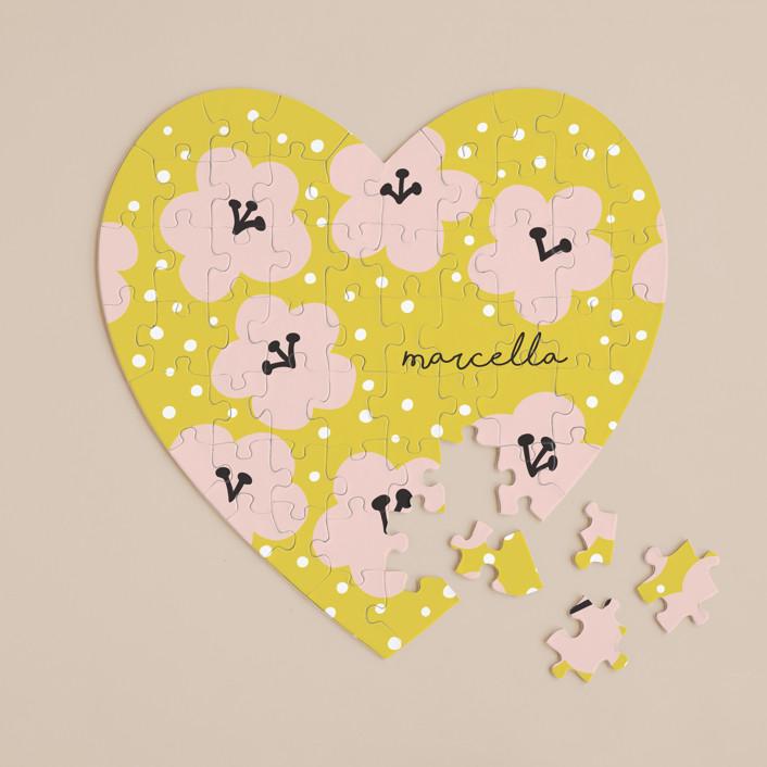 """Marcella"" - 60 Piece Custom Heart Puzzle in Mustard by Nieves Herranz."