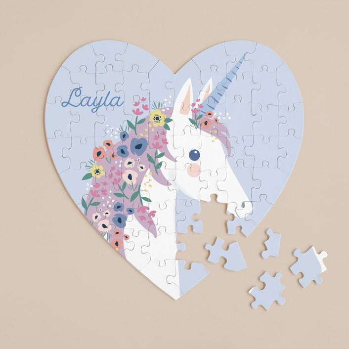 """garden unicorn"" - 60 Piece Custom Heart Puzzle in Blush by Karidy Walker."