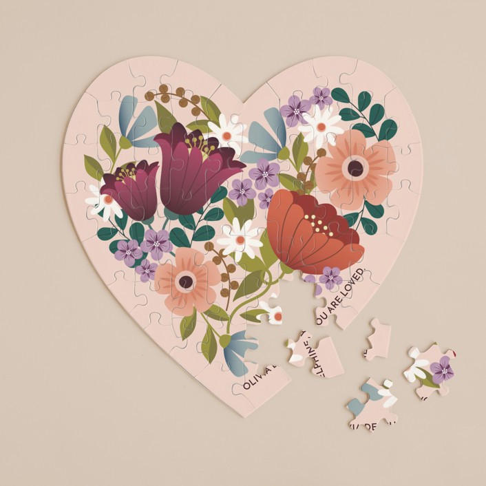 """""""Floral Heart"""" - 60 Piece Custom Heart Puzzle in Blush by Lauren Brown."""