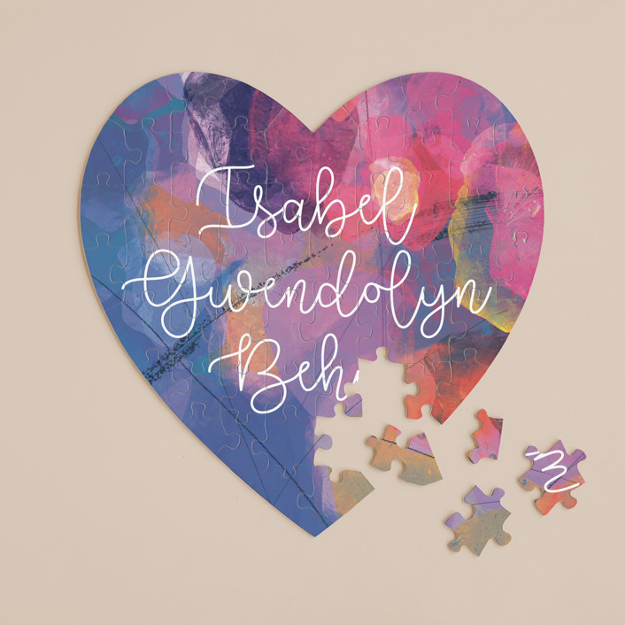 """""""Painterly Heart"""" - 60 Piece Custom Heart Puzzle in Lavender by Stellax Creative."""