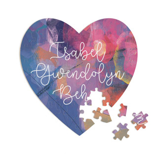 This is a purple heart puzzle by Stellax Creative called Painterly Heart printing on signature in 60 piece.
