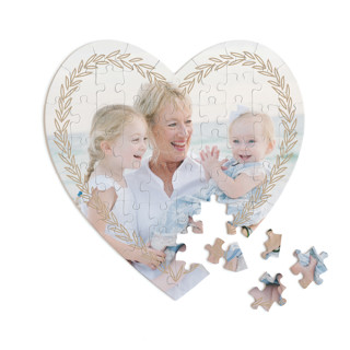 This is a brown heart puzzle by letterfix called leafy banner printing on signature in 60 piece.