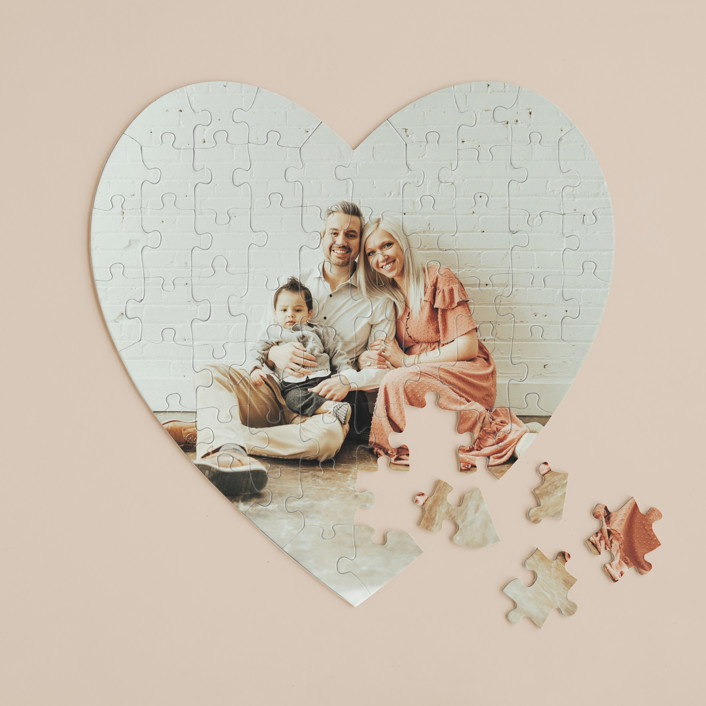 """""""The Big Picture"""" - 60 Piece Custom Heart Puzzle in Cotton by Minted Custom."""