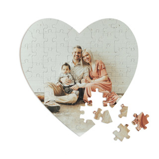 This is a white heart puzzle by Minted Custom called The Big Picture printing on signature in 60 piece.