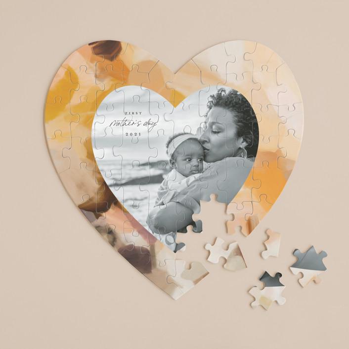 """Emberley"" - 60 Piece Custom Heart Puzzle in Sunshine by Parima Studio."
