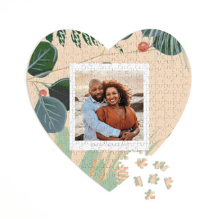 This is a beige heart puzzle by Baumbirdy called Bold Floral printing on signature in 252 piece.