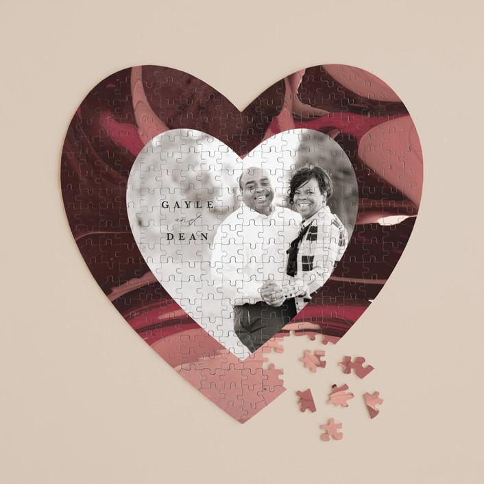 """Love Story"" - 252 Piece Custom Heart Puzzle in Garnet by Kate Ahn."