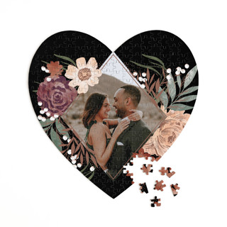 This is a black heart puzzle by Alethea and Ruth called Peony Crush printing on signature in 252 piece.