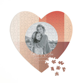 This is a orange heart puzzle by Baumbirdy called Gradient Background printing on signature in 252 piece.