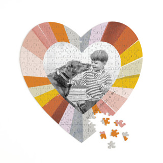 This is a colorful heart puzzle by Baumbirdy called Groovy Kind of Love printing on signature in 252 piece.