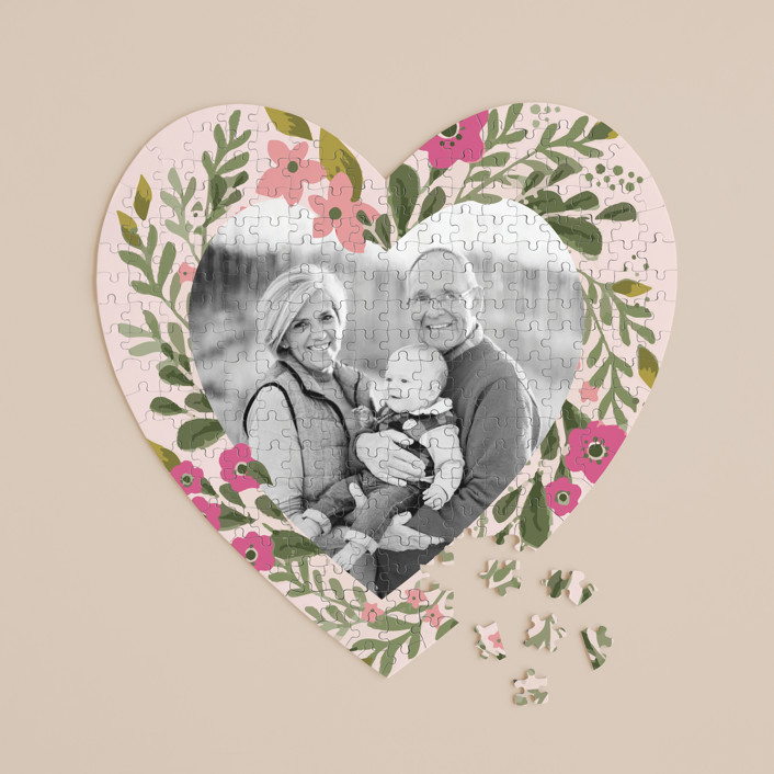 """""""With All My Heart"""" - 252 Piece Custom Heart Puzzle in Peony by Karidy Walker."""