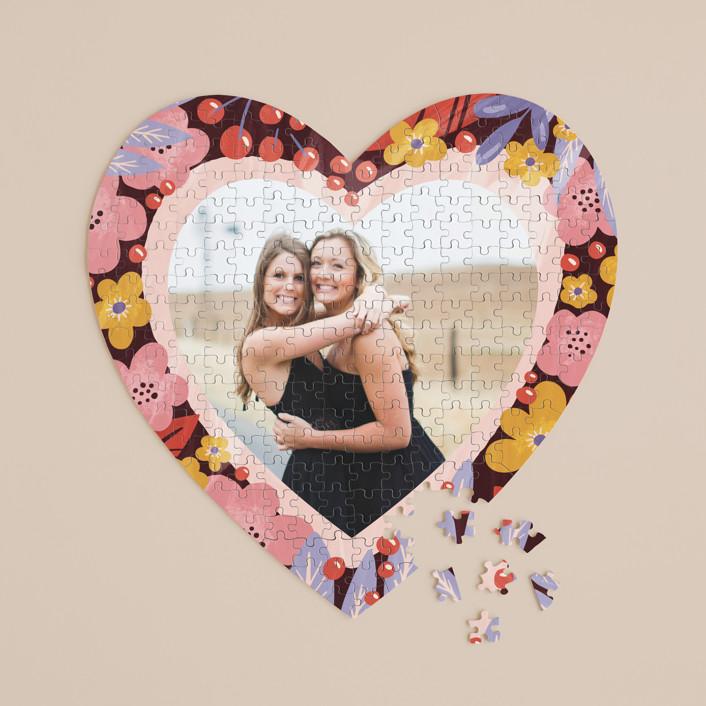 """blooming heart"" - 252 Piece Custom Heart Puzzle in Poppy by Anastasia Makarova."