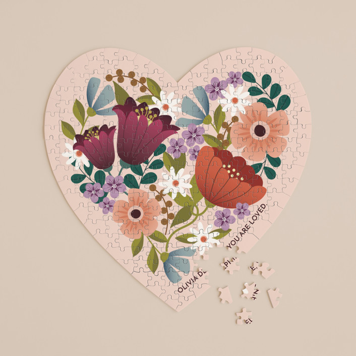 """""""Floral Heart"""" - 252 Piece Custom Heart Puzzle in Blush by Lauren Brown."""