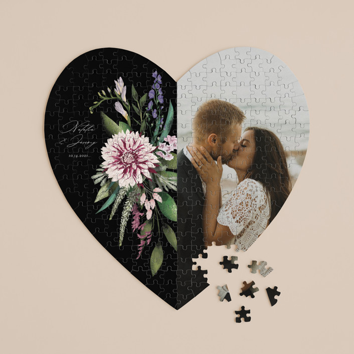 """""""Bold Bouquet"""" - 252 Piece Custom Heart Puzzle in Midnight by Susan Moyal."""