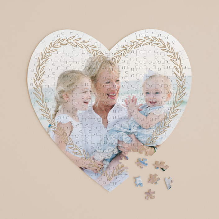 """""""leafy banner"""" - 252 Piece Custom Heart Puzzle in Golden by letterfix."""