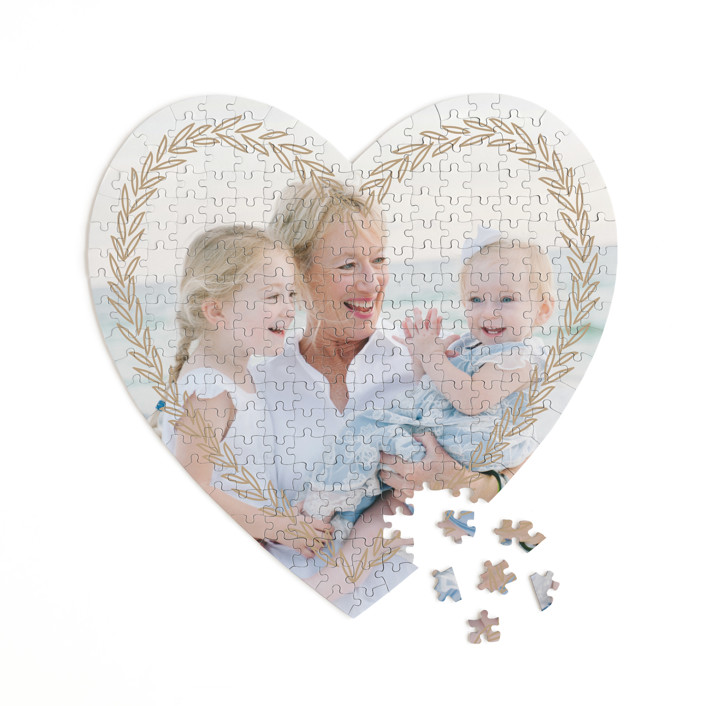 leafy banner 252 Piece Custom Heart Puzzle