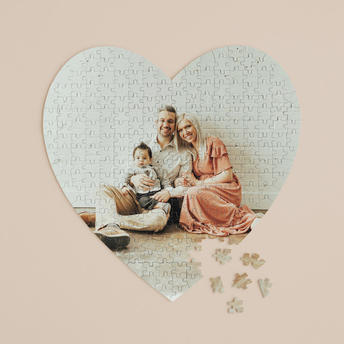 """""""The Big Picture"""" - 252 Piece Custom Heart Puzzle in Cotton by Minted Custom."""