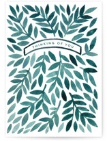 This is a green anniversary card by Katharine Watson called Sympathy Leaves with standard printing on signature in greeting cards.