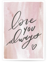 This is a pink anniversary card by Everett Paper Goods called Love You Always with standard printing on signature in greeting cards.