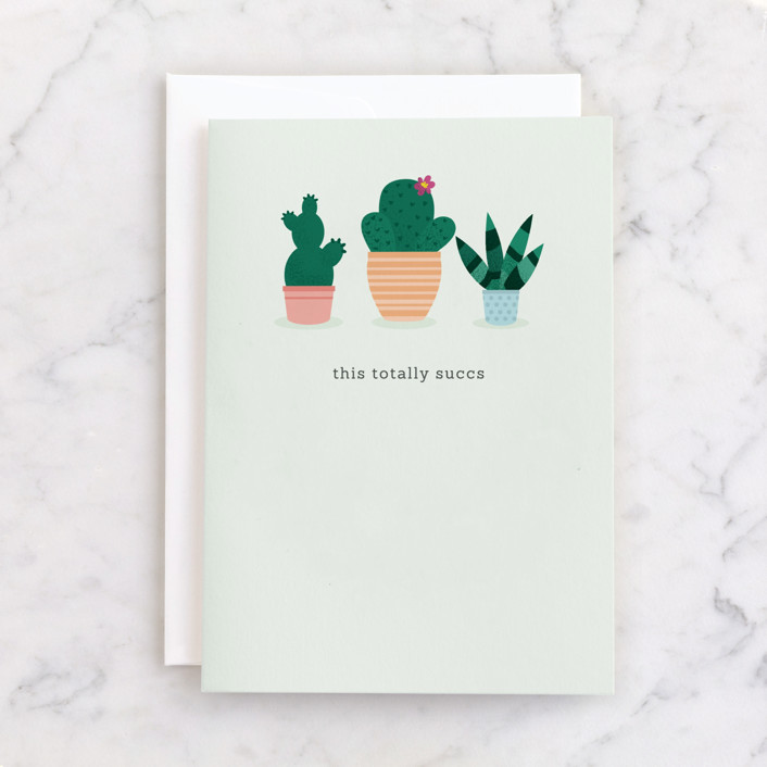 """""""This totally succs"""" - Individual Anniversary Greeting Cards in Mint by Caitlin Considine."""