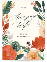 This is a beige anniversary card by Beth Schneider called Flourishing with standard printing on signature in greeting cards.