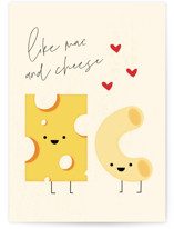 This is a yellow anniversary card by Laura Bercovich called Like Mac and Cheese with standard printing on signature in greeting cards.