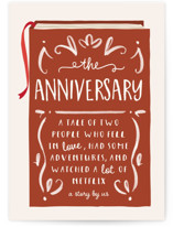 This is a orange anniversary card by JeAnna Casper called Our Story with standard printing on signature in greeting cards.