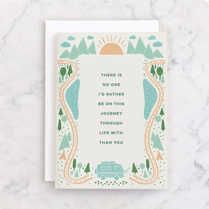 """""""Life's Adventure"""" - Individual Anniversary Greeting Cards in Cream by Ashley DeMeyere."""