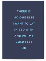 This is a blue anniversary card by Ashlee Townsend called Cold Feet with standard printing on signature in greeting cards.