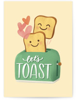 This is a yellow anniversary card by Cat Caudillo called Let's Toast with standard printing on signature in greeting cards.