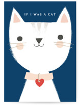 This is a blue anniversary card by Karidy Walker called If I was a cat with standard printing on signature in greeting cards.