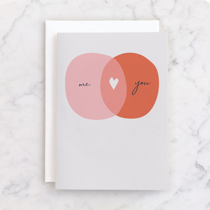 """Overlapping Love"" - Individual Anniversary Greeting Cards in Blush by Betsy Siber."