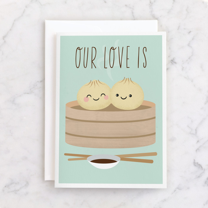 """""""dim sum"""" - Individual Anniversary Greeting Cards in Mint by Annie Holmquist."""