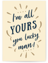 This is a beige anniversary card by Oma N. Ramkhelawan called I'm All Yours with standard printing on signature in greeting cards.